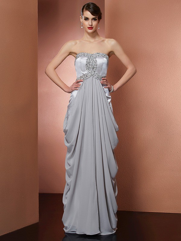Sheath Strapless Floor-Length Grey Prom Dresses