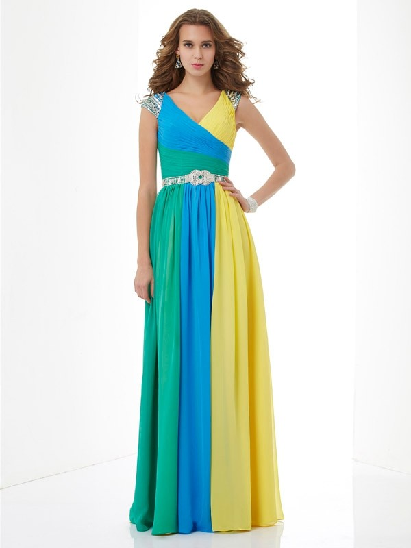 A-Line Chiffon Short Sleeves V-neck Long Prom Dresses with Beading