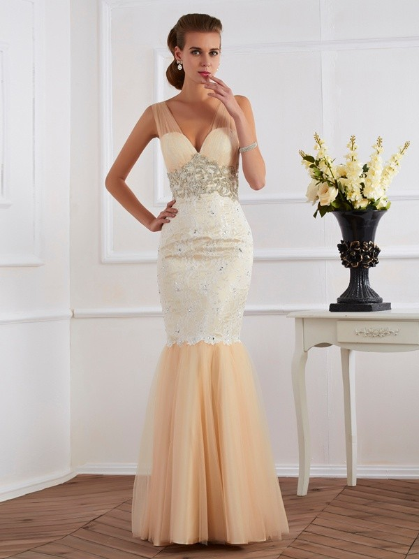 Mermaid Straps Floor-Length Champagne Prom Dresses