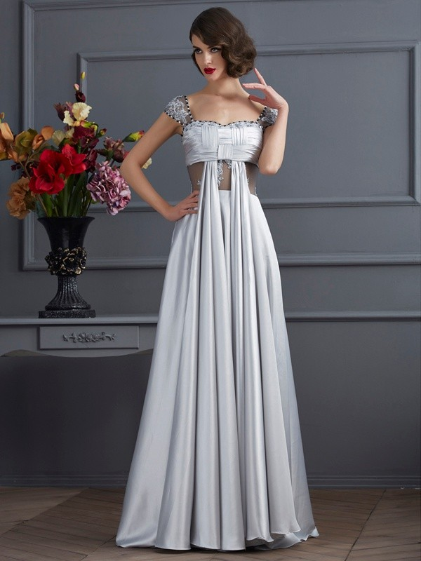 Silver Off-the-Shoulder Elastic Woven Satin Long Prom Dresses