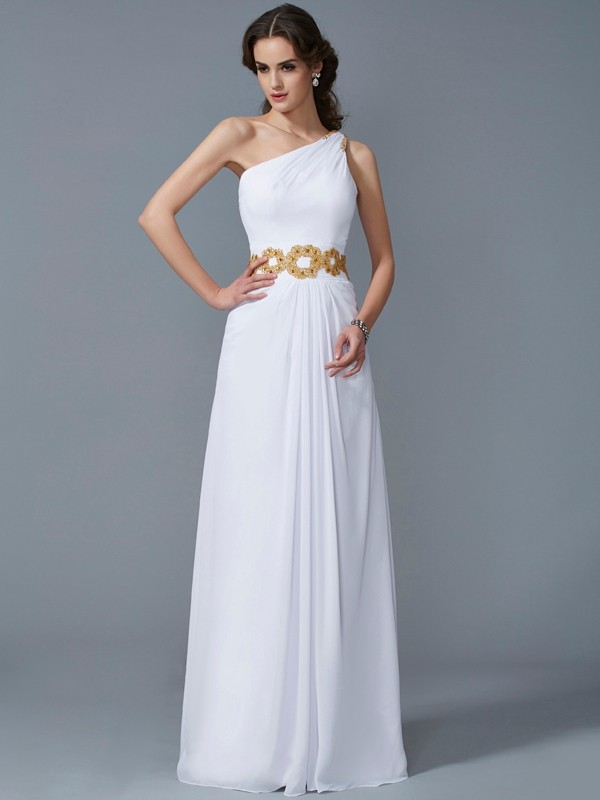 Sheath One-Shoulder Floor-Length White Prom Dresses with Beading