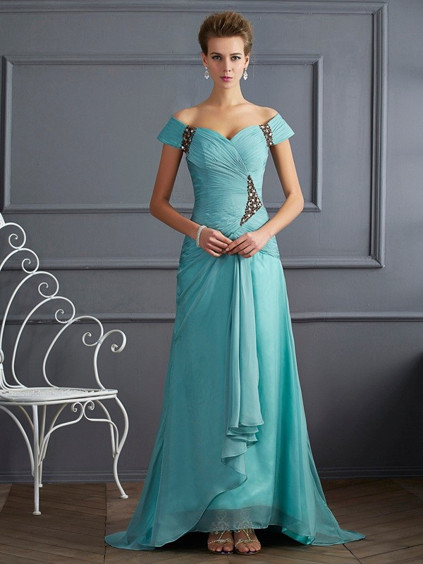 A-Line Off-the-Shoulder Brush Train Blue Prom Dresses with Beading