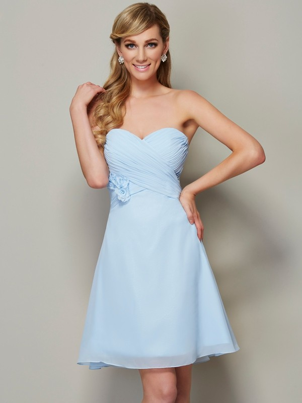 A-Line Chiffon Sweetheart Short/Mini Blue Homecoming Dresses