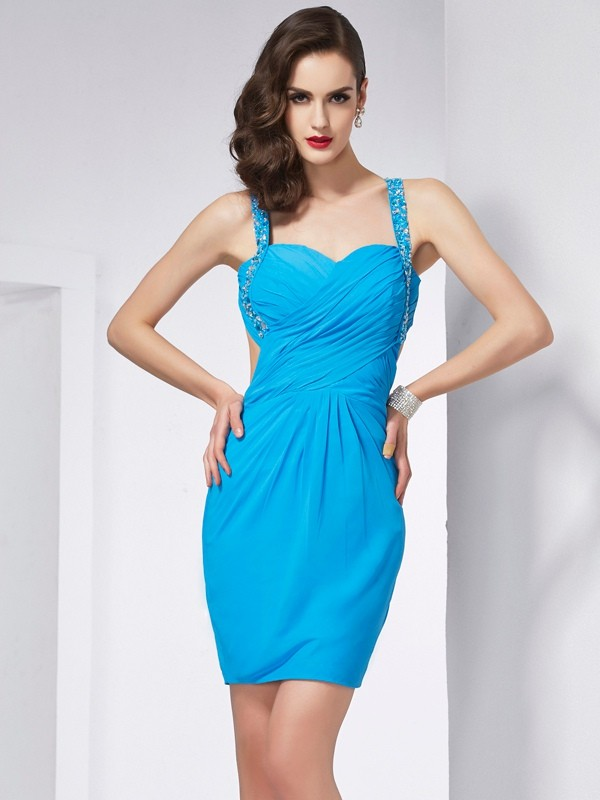 Chiffon Spaghetti Straps Short/Mini Blue Homecoming Dresses