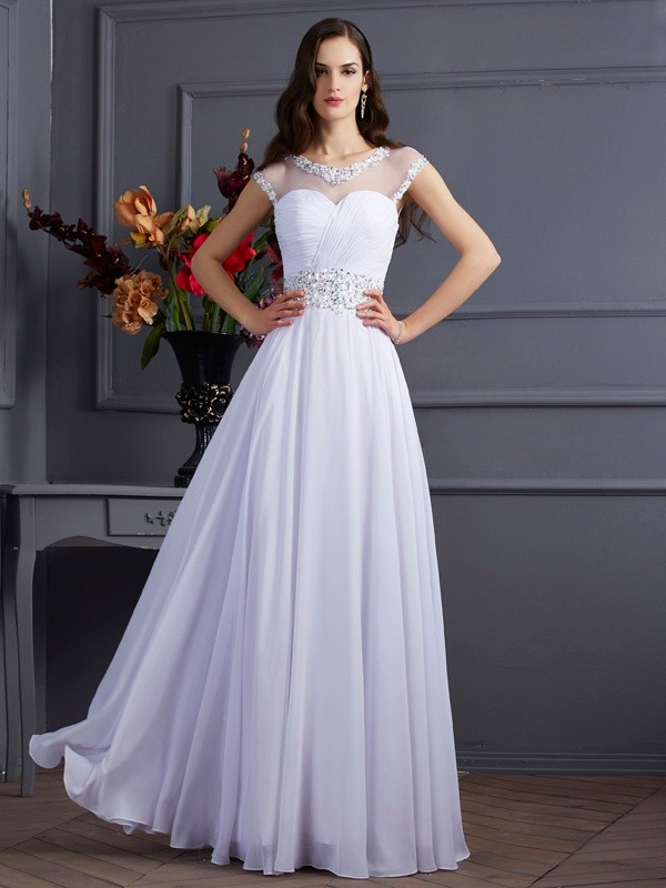 A-Line Bateau Floor-Length White Prom Dresses with Beading