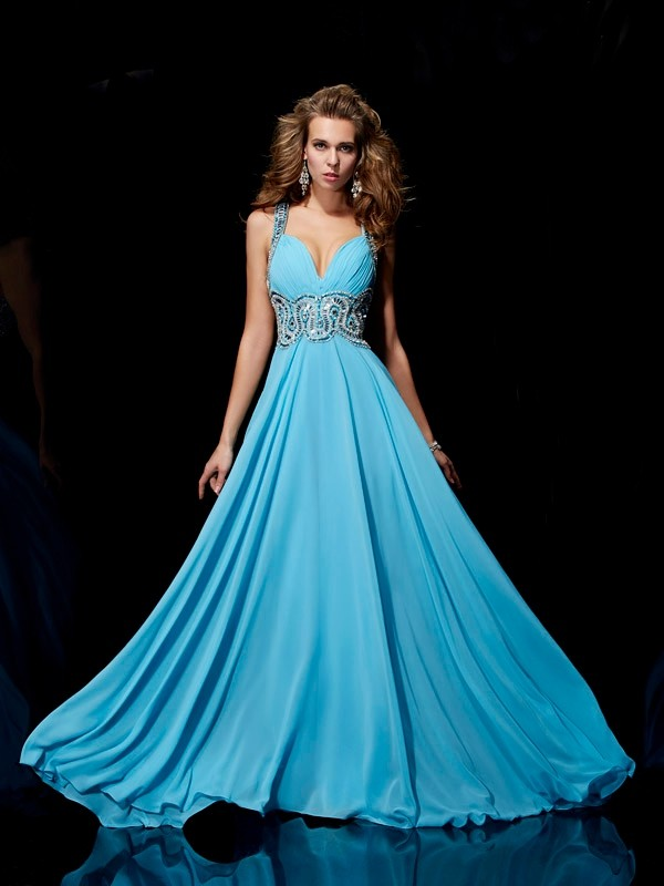 A-Line Straps Brush Train Blue Prom Dresses with Beading