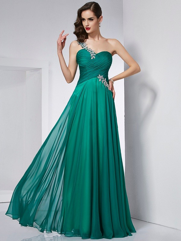 A-Line Chiffon One-Shoulder Floor-Length Dark Green Prom Dresses