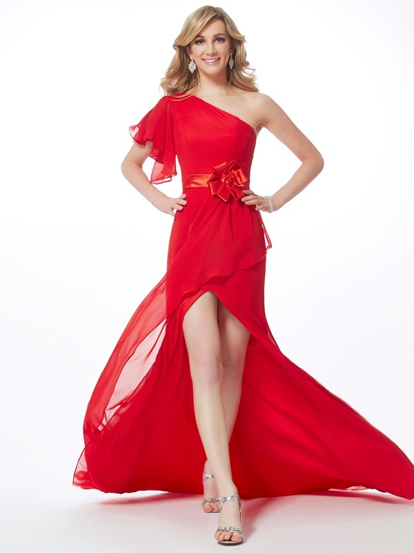 Red One-Shoulder Chiffon Brush Train Prom Dresses