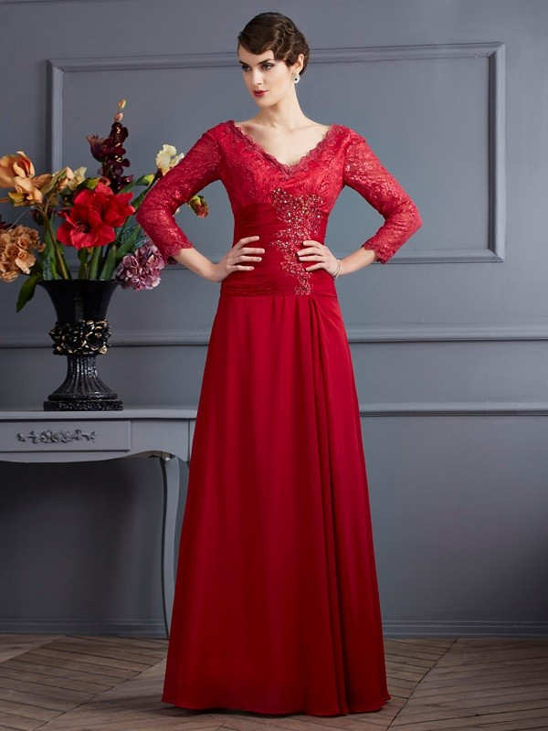 3/4 Sleeves V-neck Floor-Length Red Prom Dresses with Lace
