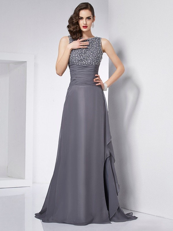 A-Line Chiffon Jewel Brush Train Grey Prom Dresses