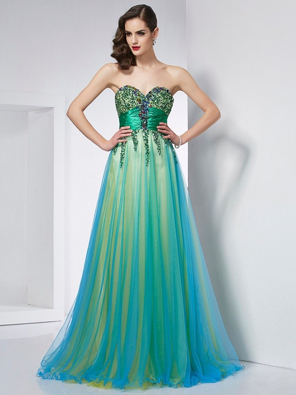 Green Ball Gown Sweetheart Brush Train Prom Dresses with Ruffles