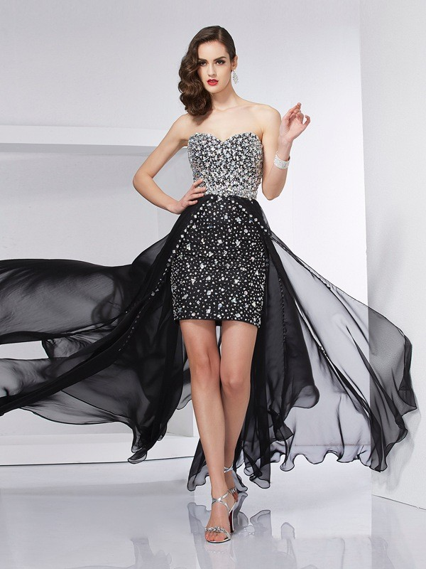 Chiffon Sweetheart Brush Train Black Prom Dresses
