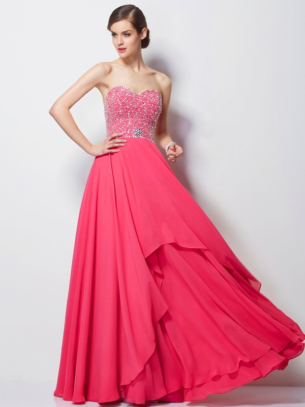 A-Line Chiffon Sweetheart Floor-Length Prom Dresses with Beading