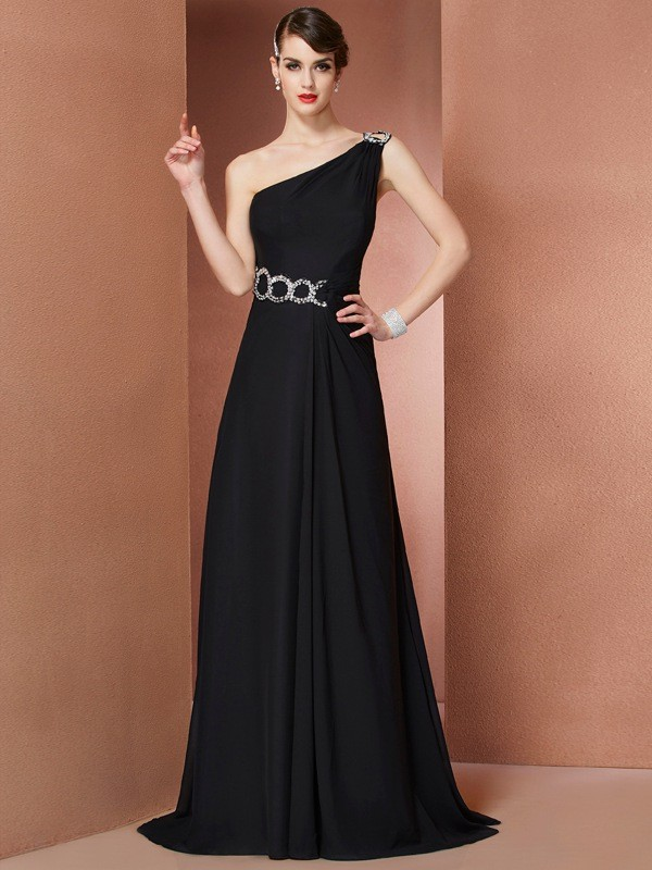 A-Line One-Shoulder Brush Train Black Prom Dresses
