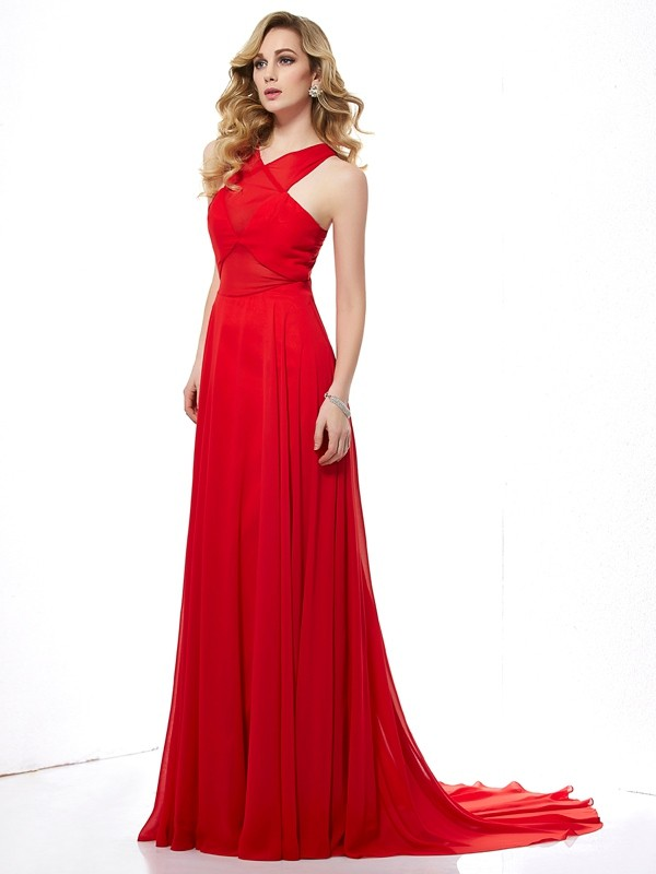 Red A-Line Halter Brush Train Prom Dresses