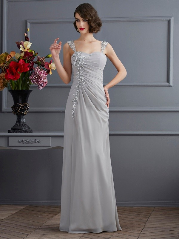 Mermaid Straps Floor-Length Silver Prom Dresses with Beading