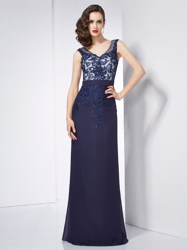 Dark Navy Sheath V-neck Floor-Length Prom Dresses with Beading