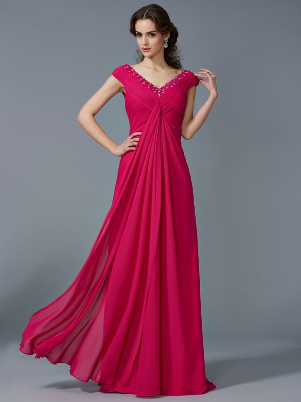 Fuchsia V-neck Chiffon Floor-Length Prom Dresses