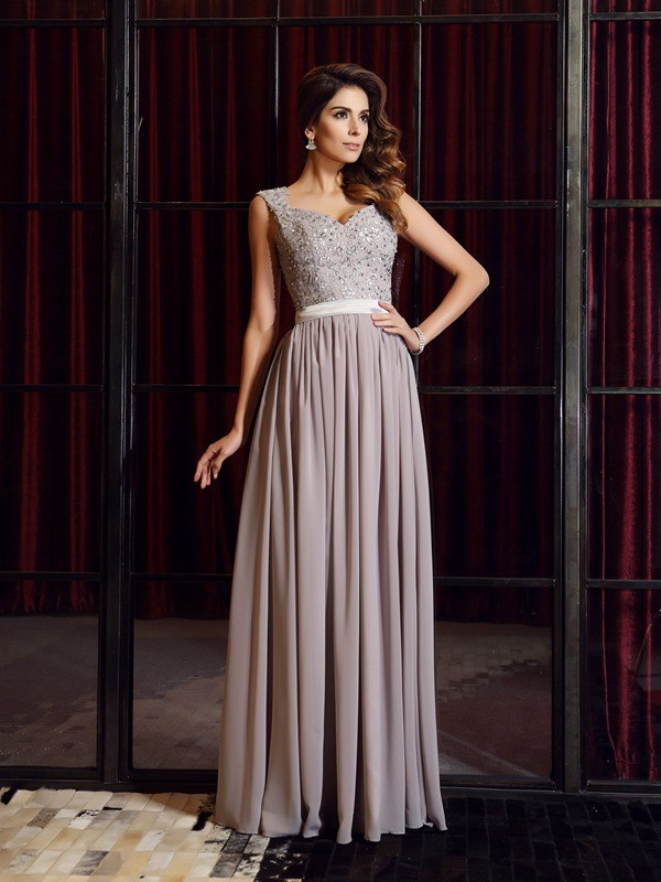 Grey Straps Chiffon Floor-Length Prom Dresses