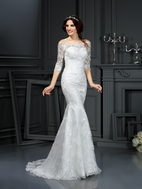 Half Sleeves Off-the-Shoulder Brush Train Ivory Wedding Dresses with Lace