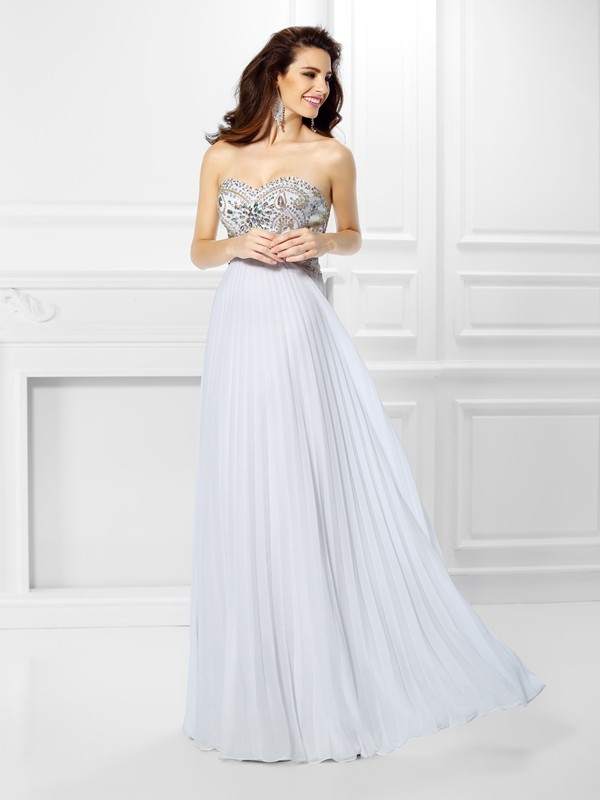 Empire Chiffon Sweetheart Floor-Length White Prom Dresses