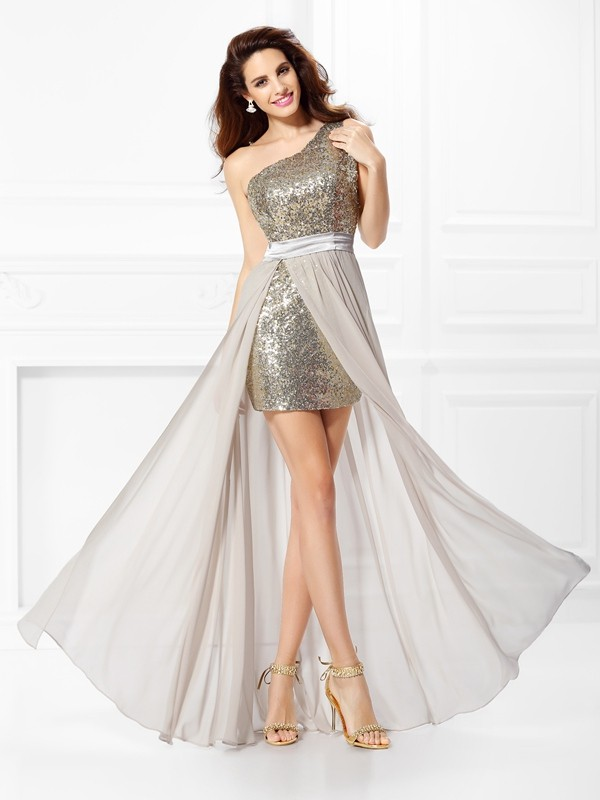 Floor-Length Grey One-Shoulder Prom Dresses with Sequin