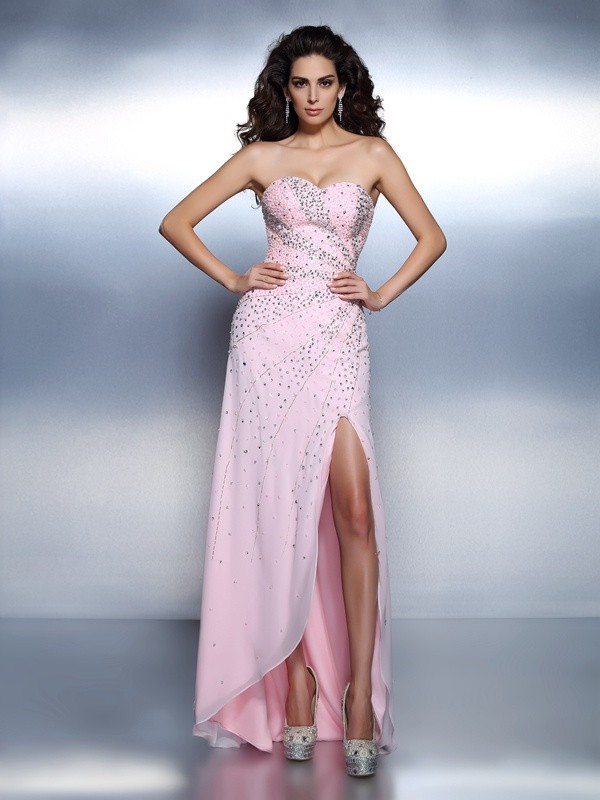 Floor-Length Pearl Pink Sweetheart Prom Dresses with Beading