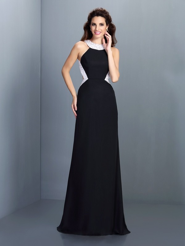 Black High Neck Chiffon Brush Train Prom Dresses