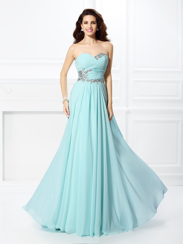 A-Line Sweetheart Long Light Sky Blue Prom Dresses with Beading