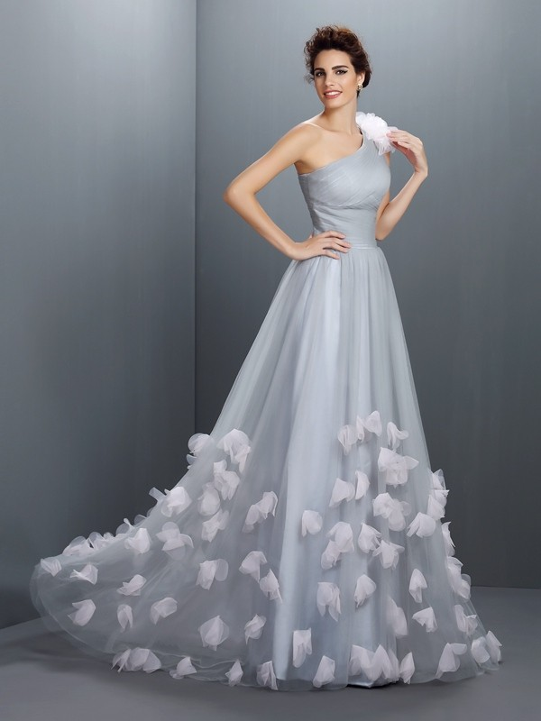 Net One-Shoulder Floor-Length Grey Prom Dresses