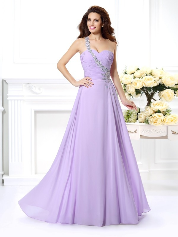 Chiffon A-Line Floor-Length One-Shoulder Lavender Prom Dresses