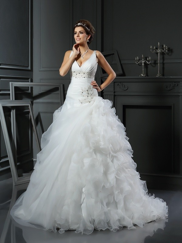 Organza V-neck Court Train Ivory Wedding Dresses