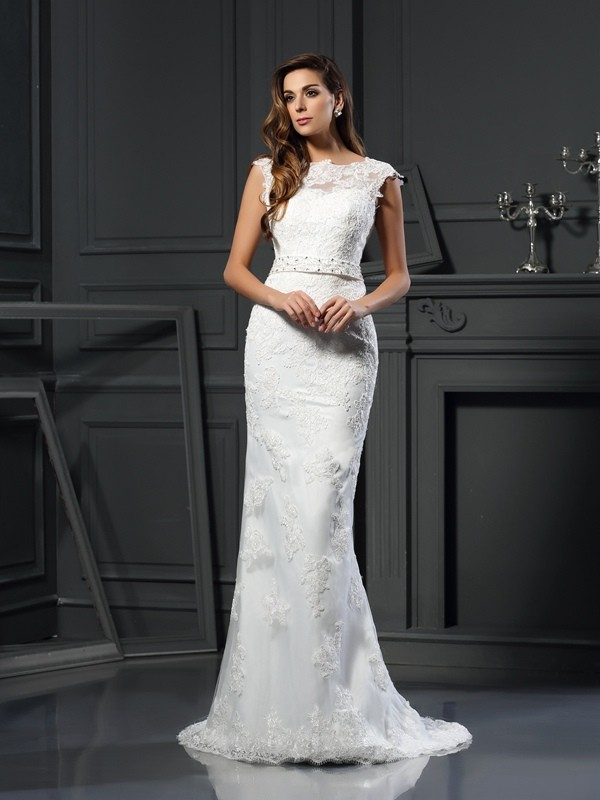 Bateau Court Train Ivory Wedding Dresses with Lace