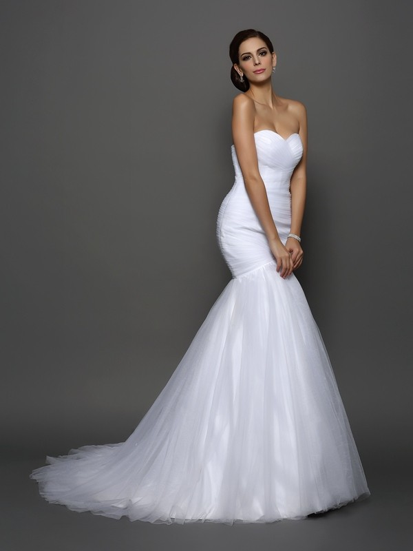 Net Sweetheart Court Train White Wedding Dresses