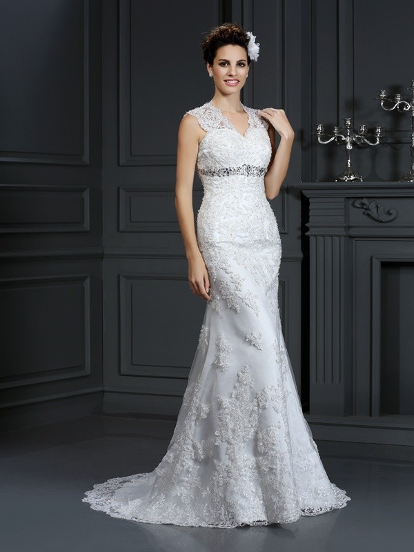 Sheath Lace V-neck Brush Train Wedding Dresses with Beading