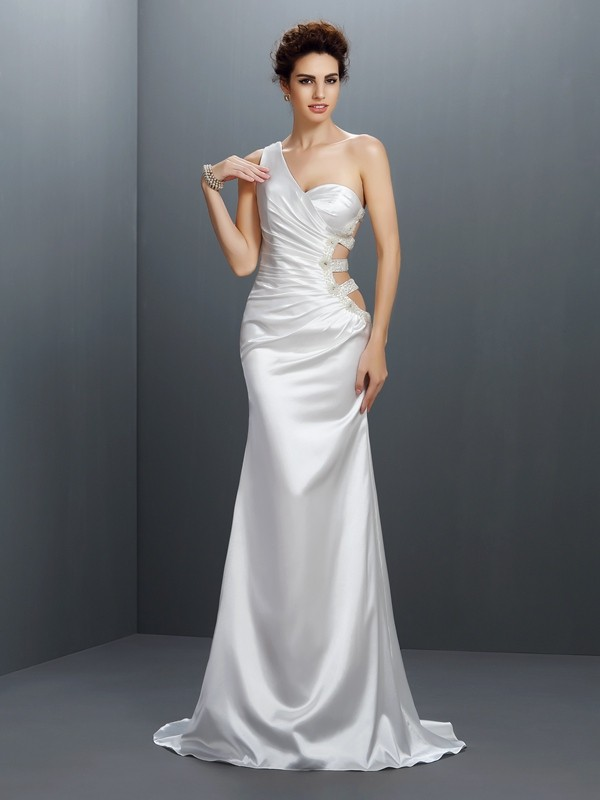 Elastic Woven Satin Mermaid Brush Train One-Shoulder Silver Prom Dresses