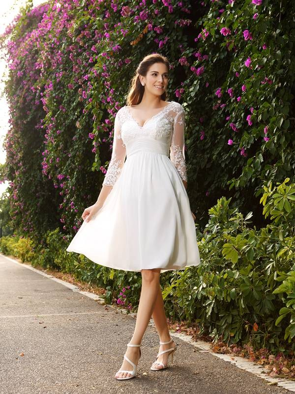 Ivory V-neck Chiffon Knee-Length Wedding Dresses