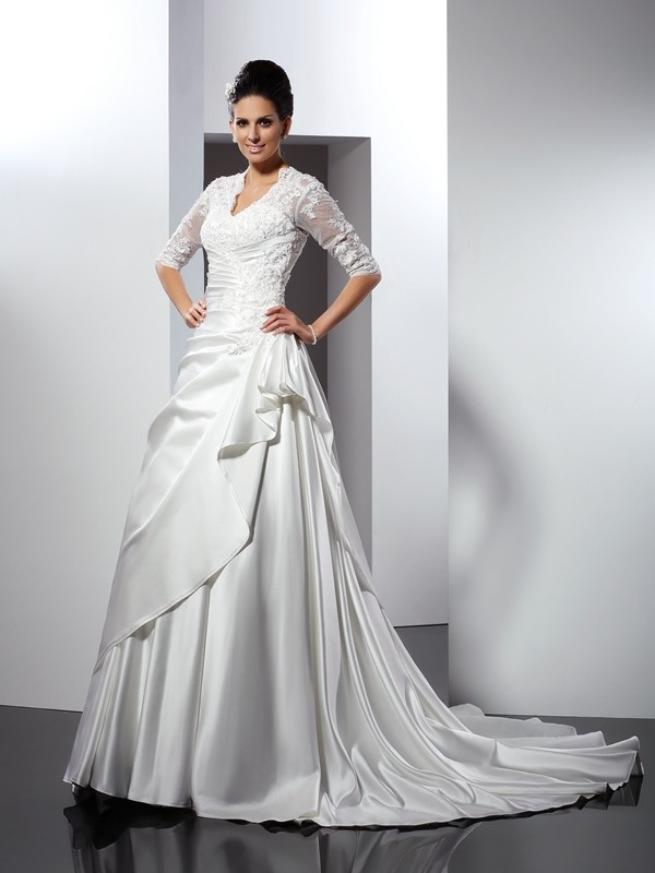 Ivory V-neck Satin Chapel Train Wedding Dresses
