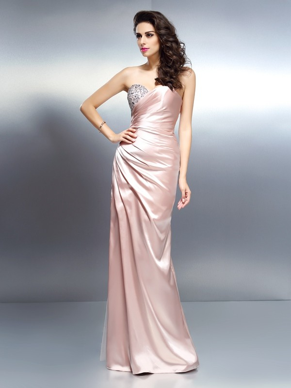 Mermaid Elastic Woven Satin Sweetheart Long Prom Dresses with Beading