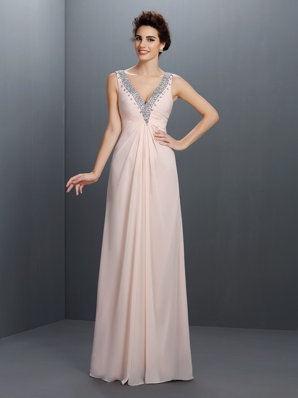 A-Line Chiffon V-neck Floor-Length Prom Dresses with Beading