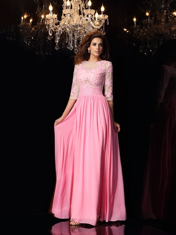 Half Sleeves A-Line Scoop Floor-Length Pink Prom Dresses