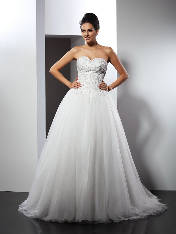 Net Sweetheart Chapel Train White Wedding Dresses