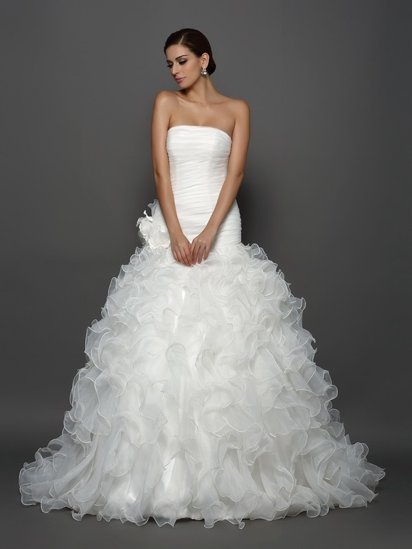 Cathedral Train Ivory Strapless Wedding Dresses with Hand-Made Flower