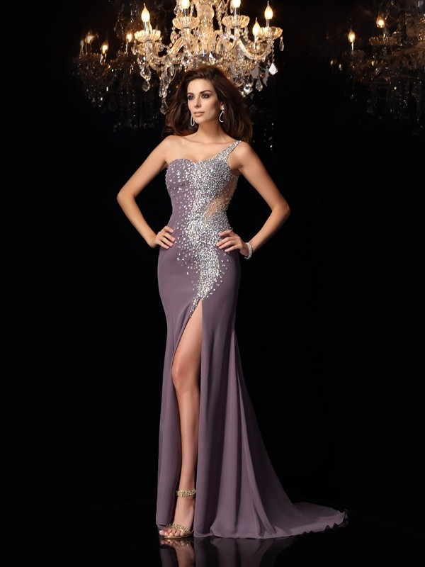Grey Mermaid One-Shoulder Brush Train Prom Dresses with Rhinestone