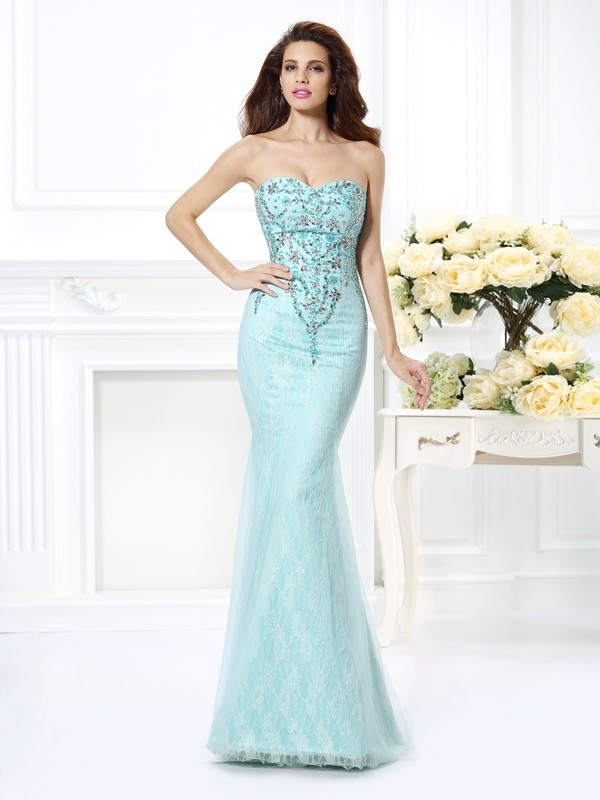 Sweetheart Floor-Length Light Sky Blue Prom Dresses with Beading