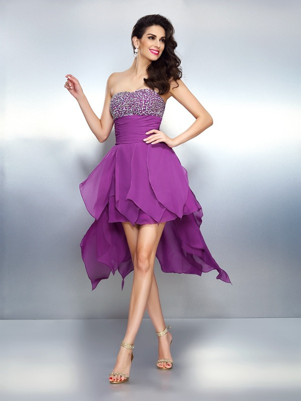 A-Line Strapless Asymmetrical Fuchsia Homecoming Dresses with Beading