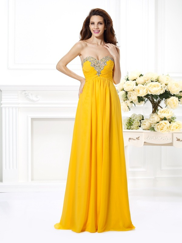 Yellow Sweetheart Chiffon Floor-Length Prom Dresses