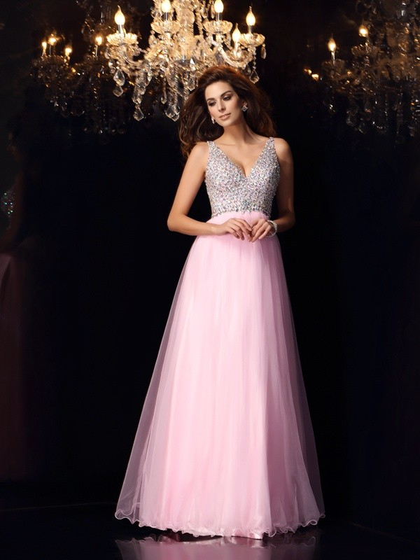 Elastic Woven Satin V-neck Floor-Length Pink Prom Dresses
