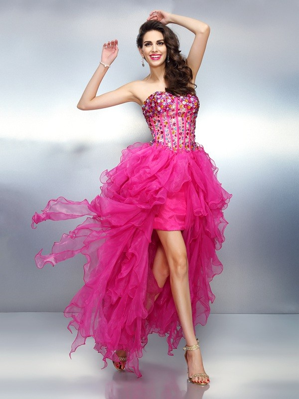 A-Line Sweetheart Asymmetrical Pink Homecoming Dresses