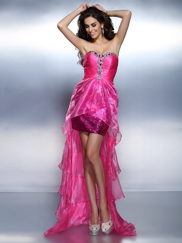Sheath Sweetheart Asymmetrical Fuchsia Homecoming Dresses